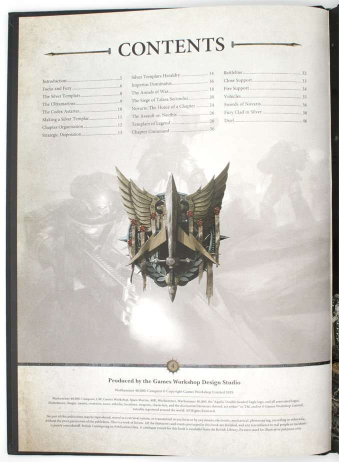 Warhammer 40,000 Conquest - Silver Templars Source Book - Contents