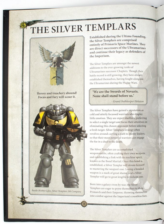 Warhammer 40,000 Conquest - Silver Templars Source Book Descripción general