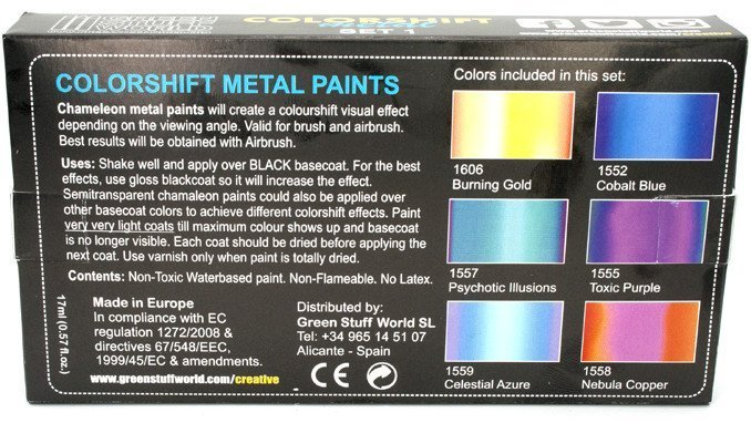 Green Stuff World Chameleon Colourshift Set 1 Review - Boxed Rear