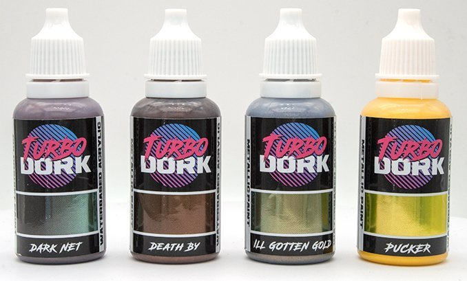 Turbodork Paint range review for Miniatures & Wargames Models - Brown & Yellow Bottles