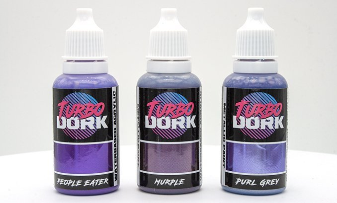 Turbodork Paint range review for Miniatures & Wargames Models - Purple Bottles
