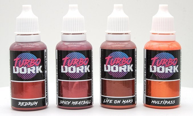 Turbodork Paint range review for Miniatures & Wargames Models - Red Bottles.png