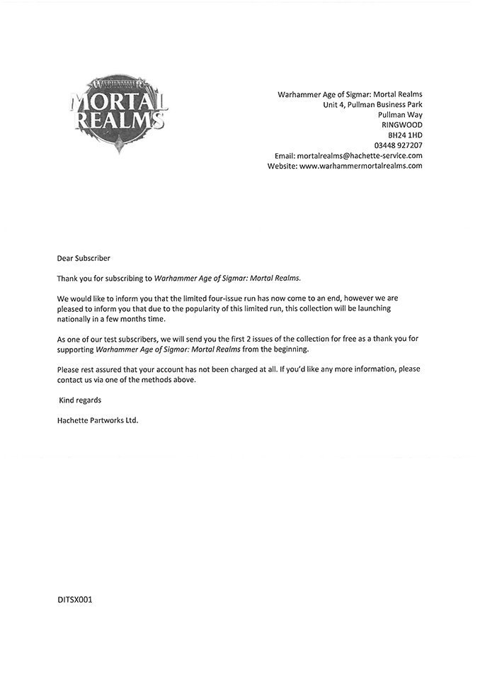 Mortal Realms Release Confirmation Letter