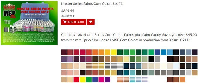 Miniaturas Reaper MSP Master Series Pinturas MSP - Core Colors Set 1 Review - Set List
