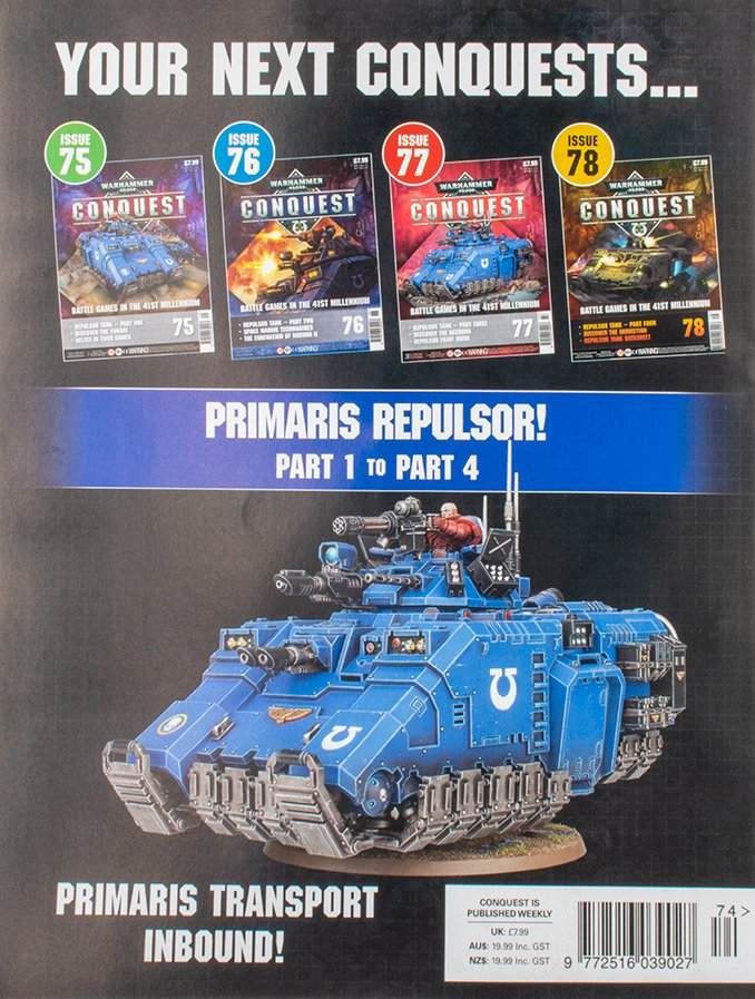 Warhammer Conquest Issues 75, 76, 77 & 78 Primaris Repulsor Contents Confirmed