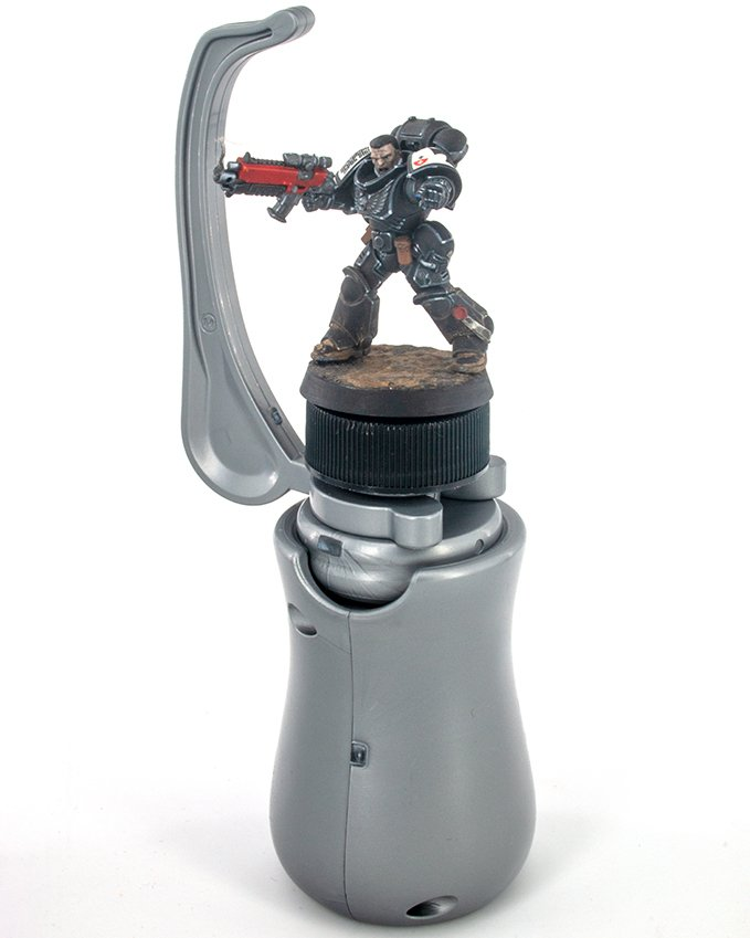 GameEnvy Hobby Holder Review for Miniature Painters - Hobby Holder with Model
