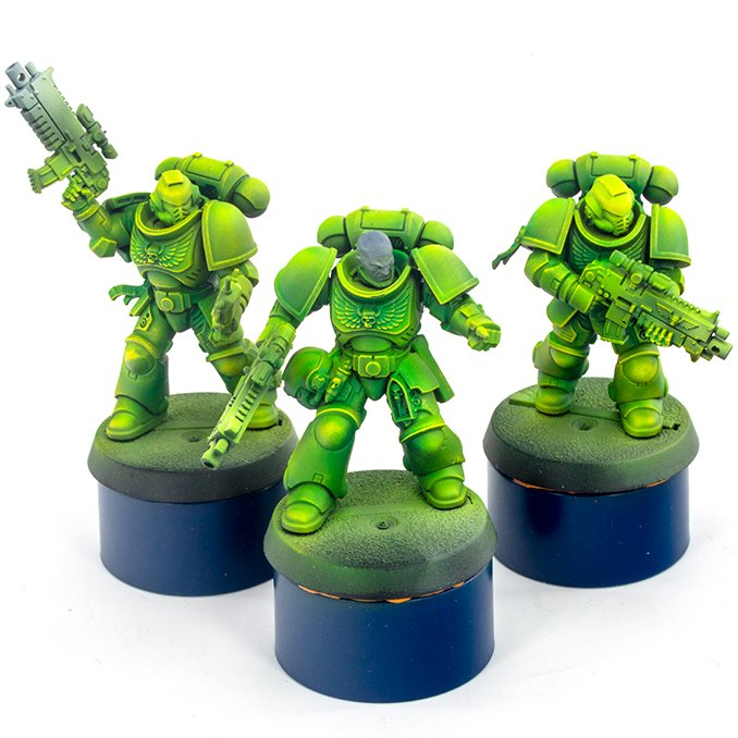 Warcolours Paint Range Review for Miniatures & Wargames Models - Space Marine 4 - Drybrush - One Coat Yellow - Highly Opaque