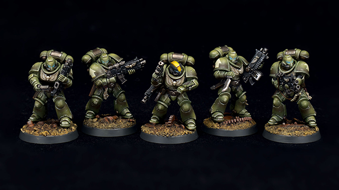 Luther Davies - The Mighty Brush - Demandez à l'artiste - Raptors Intercessors-Combat-Squad-II-Group-01